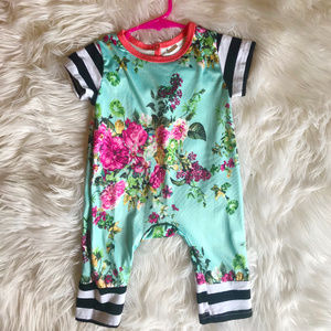 Baby Girl Floral and Stripe Jumpsuit Playsuit